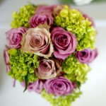 Purple Lavender Roses and green hydrangea cascading bridal bouquet