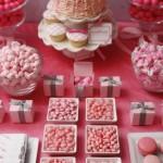 Pink wedding cake and dessert display from martha stewart weddings