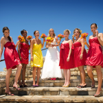 Bridesmaids in matching dresses different shoes by Duane Peck Photography