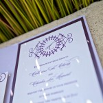 Custom ivory and purple wedding invitations by Rock Paper Scissors Design J Squared Events
