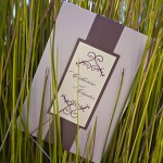 Custom purple and ivory wedding invitations by Rock Paper Scissors Design J Squared Events