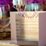 Custom purple bowling scorecard dinner menus by Rock Paper Scissors Design J Squared Events