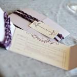 Custom purple bowling scorecard dinner menus with yarn by Rock Paper Scissors Design J Squared Events