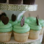 Mint and Chocolate cupcakes with chocolate monogram heart