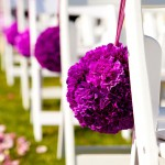 Purple pomander kissing ball aisle arrangements by Anne Mendenhall Flowers J Squared Events