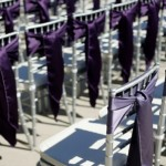 Silver Chiavari chairs with lilac plum violet sashes