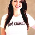 Got Coffee white tee with Mocha Glitter Logo