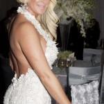 Kim Zolciak Backless white wedding jumpsuit