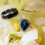 9k pear shape sapphire ring with a pavé set eternity band