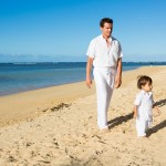 Antonio Sabato Jr and son Antonio Makana on Anini Beach
