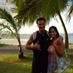 Antonio Sabato Jr and wife Cheryl Moana Marie with Rodan and Fields gift bags for their wedding guests