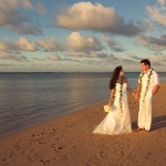 Cheryl Moana Marie and Antonio Sabato Jr Beach Sunset post wedding