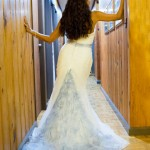 Cheryl Moana Marie in White Wedding Gown with Light Blue sash and train
