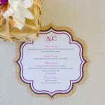 Custom Laser Cut Menu with Laser Cut Woven Matte Back by Rachel Jane Couture