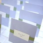Escort Card CD wedding favors inside square lavender envelope