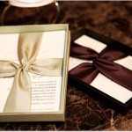 Green and Chocolate Wedding Invitations in colored boxes