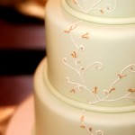 Green wedding cake with gold detailing by Shannie Cakes