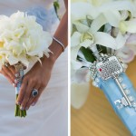 Hand Tie White Orchid Bridal Bouquet Wrapped in Blue Satin Ribbon