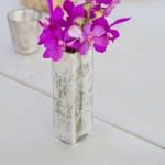 Purple Orchid Centerpiece in West Elm Mercury Glass Vase