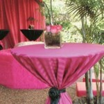 highboy table with pink striped linen and black rose shape sash
