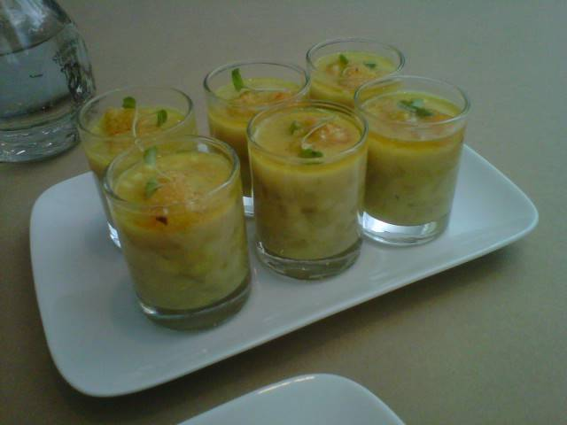 {Corn Chowder Soup Shots} topped with fried green tomato + parsley
