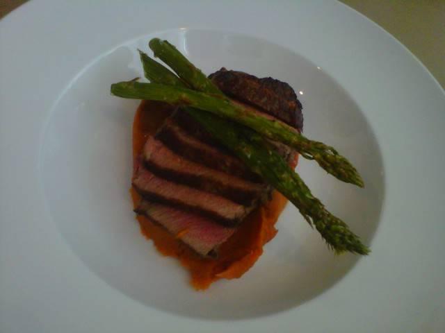 {Petit Filet} whipped sweet potatoes, roasted asparagus + bourbon stout sauce