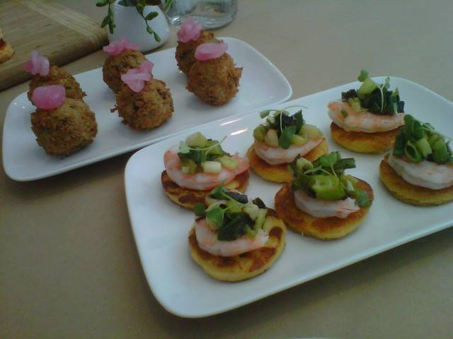 {Red Beans + Rice Fritters} panko crusted fritters topped with house pickled red onions (l); {Shrimp + Grits} bite-sized polenta cakes topped with jumbo shrimp, grilled green onion relish and micro greens (r)