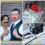 Photo Booth with Lips Glasses Mustache Props and Vintage Polaroid Camera