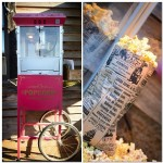 Vintage Popcorn Cart with Vintage Newspaper Popcorn Bag
