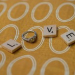 Yellow diamond wedding ring and LOVE scrabble tiles