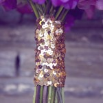 0006 hand tied bouquet with gold sequin ribbon on stem