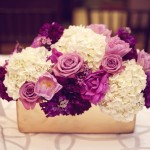 0042 purple and white roses and hydrangea centerpiece in rectangular gold vase by Floral Theory