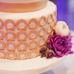 0054 two tier wedding cake with gold ribbon and stencil details by shannie cakes of sausalito ca
