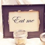 0063 vintage grey picture frame with  custom eat me sign