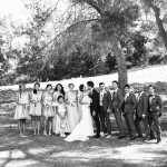 026 Black and White bridal party portrait at St Perpetua Catholic Church Lafayette CA by Gladys Jem Photography and J Squared Events