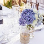 035 Blush Ivory and Blue Hydrangea centerpieces in mason jars wrapped in lace twine and burlap by Floravida and Gladys Jem Photography a J Squared Event
