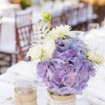 036 Blush Ivory and Blue Hydrangea centerpieces in mason jars wrapped in lace twine and burlap by Floravida and Gladys Jem Photography a J Squared Event