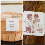 042 Custom Bride and Groom Caricature Coasters with Burlap Tie wedding favor by Jon Vee Gladys Jem Photography and J Squared Events Planning and Design