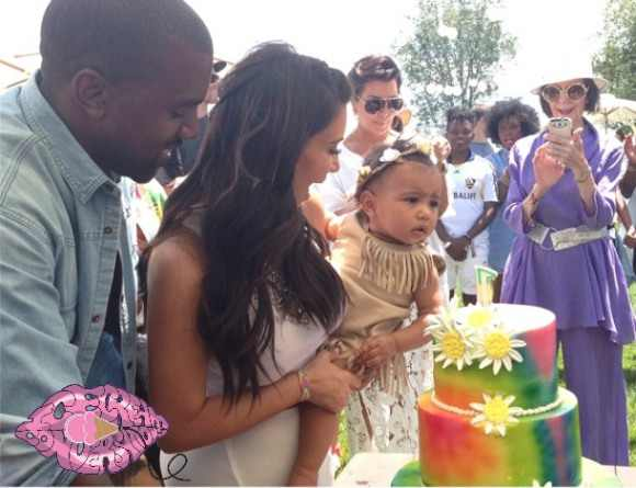 Kanye West Kim Kardashian North Nori West 1st Birthday Party Watercolor Birthday Cake
