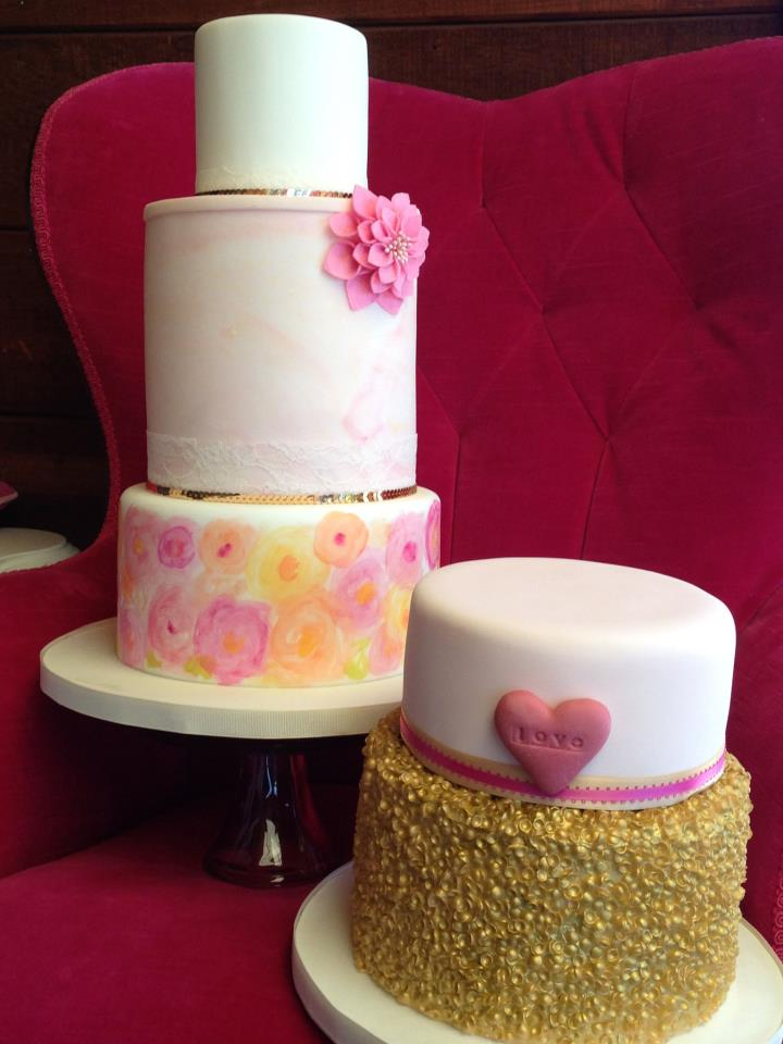 Watercolor Wedding Cake at Thomas Fogarty Winery by San Francisco Bay Area Cake Designer Shannie Cakes