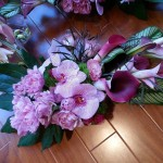 Purple Orchid Rose Calla Lily centerpieces by Gingerleaf Floral Design