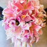034 Tear drop bridal bouquet with pink lilies for same sex lesbian wedding at Elliston Vineyards by Gingerleaf Floral Lady of Light Photography wedding planner J Squared Events