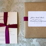 054 Nice Owl Design custom ivory and burgundy same sex lesbian wedding invitation w ribbon Elliston Vineyards Sunol by Lady of Light Photography and wedding planner J Squared Events