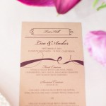 0340 Nice Owl Design Custom ivory and burgundy menu for Elliston Vineyards Sunol same sex lesbian wedding by J Squared Events